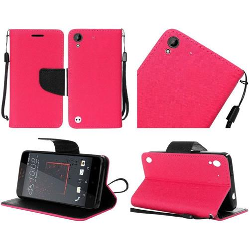 Insten Folio Leather Fabric Case Lanyard w/stand For HTC Desire 530/550/555, Hot Pink/Black