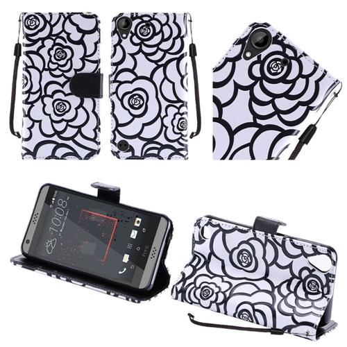 Insten Roses Book-Style Leather Fabric Case Lanyard w/stand For HTC Desire 530/550/555, White/Black