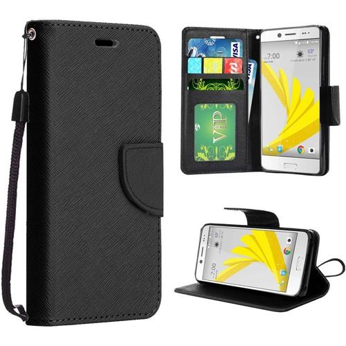 Insten Book-Style Leather Fabric Cover Case Lanyard w/stand For HTC 10/Bolt, Black