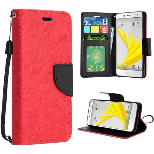 Insten Book-Style Leather Fabric Cover Case Lanyard w/stand For HTC 10/Bolt, Red