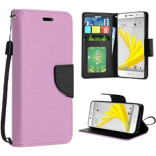 Insten Book-Style Leather Fabric Cover Case Lanyard w/stand For HTC 10/Bolt, Rose Gold