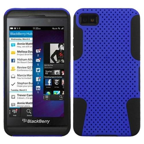Insten Astronoot Mesh Hard Dual Layer Rubber Silicone Case For BlackBerry Z10, Dark Blue/Black