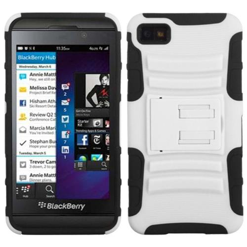 Insten Advanced Armor Hard Dual Layer Plastic Silicone Case w/stand For BlackBerry Z10, White/Black
