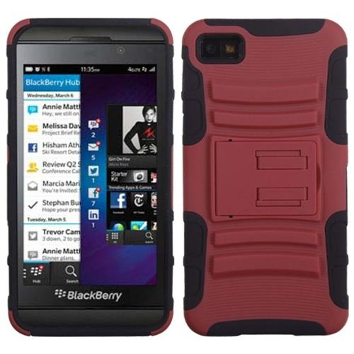 Insten Fitted Soft Shell Case for Blackberry Z10 - Dark Red/Black