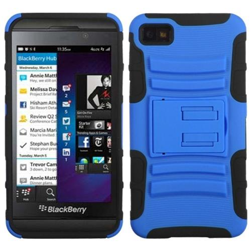 Insten Advanced Armor Hard Plastic Silicone Case w/stand For BlackBerry Z10, Dark Blue/Black