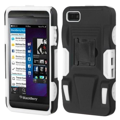 Insten Advanced Armor Hard Hybrid Plastic Silicone Case w/stand For BlackBerry Z10, Black/White