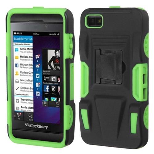 Insten Advanced Armor Hard Plastic Silicone Case w/stand For BlackBerry Z10, Black/Neon Green