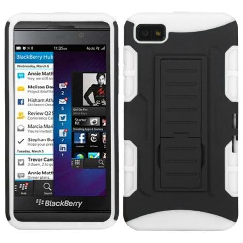 Insten Car Armor Hard Dual Layer Plastic Silicone Cover Case w/stand For BlackBerry Z10, Black/White