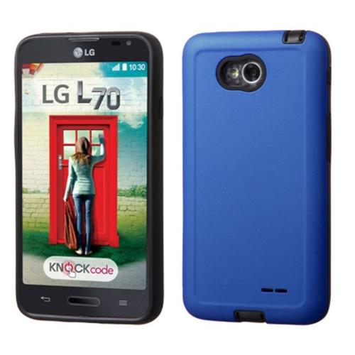 Insten Hybrid Rubberized Case For LG Optimus Exceed 2 VS450PP Verizon/Optimus L70/Realm, Blue/Black