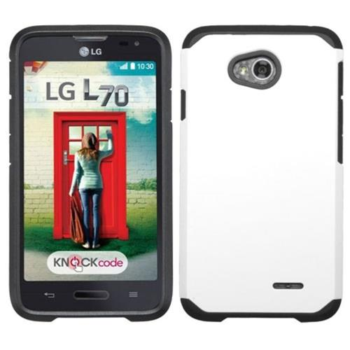 Insten Hard Rubber Case For LG Optimus Exceed 2 VS450PP Verizon/Optimus L70/Realm, White/Black