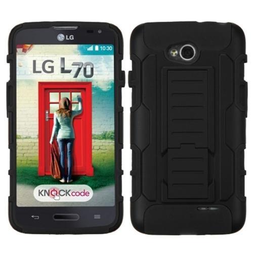 Insten Car Armor Hard Case w/stand For LG Optimus Exceed 2 VS450PP Verizon/Optimus L70, Black