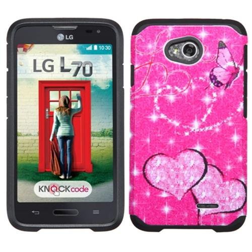 Insten Butterfly/Heart Hard Case For LG Optimus Exceed 2 VS450PP Verizon/Optimus L70/Realm, Hot Pink