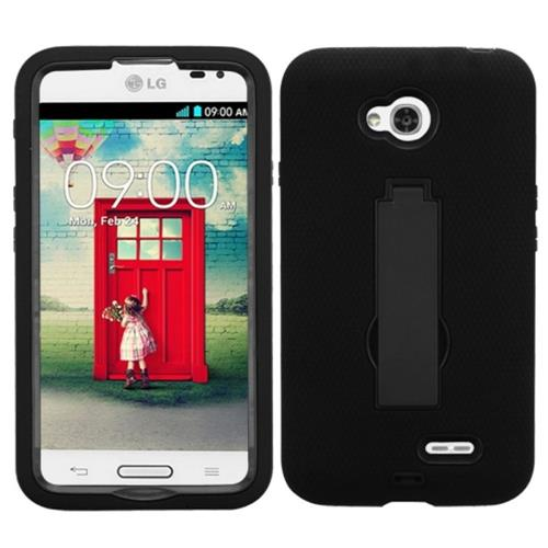 Insten Symbiosis Soft Rubber Case w/stand For LG Optimus Exceed 2 VS450PP Verizon/Optimus L70, Black