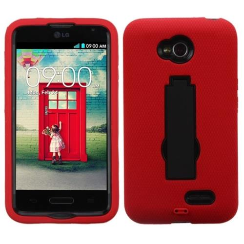 Insten Rubber Hard Case w/stand For LG Optimus Exceed 2 VS450PP Verizon/Optimus L70, Red/Black