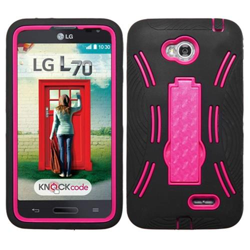 Insten Rubber Hybrid Case For LG Optimus Exceed 2 VS450PP Verizon/Optimus L70, Black/Hot Pink