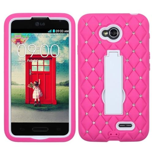Insten Rubber Hybrid Hard Case For LG Optimus Exceed 2 VS450PP Verizon/Optimus L70, Pink/White