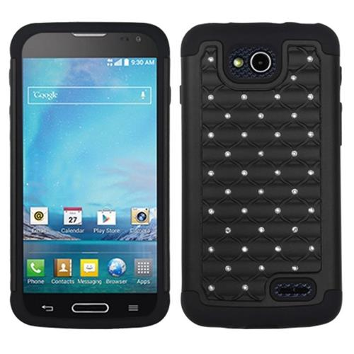 Insten Lattice Hard Dual Layer Rubber Silicone Case For LG Optimus L90, Black