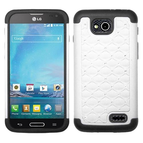Insten Lattice Hard Hybrid Rubber Coated Silicone Case w/Diamond For LG Optimus L90, White/Black
