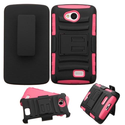 Insten Hard Dual Layer Plastic Silicone Case w/Holster For LG Optimus F60, Black/Pink