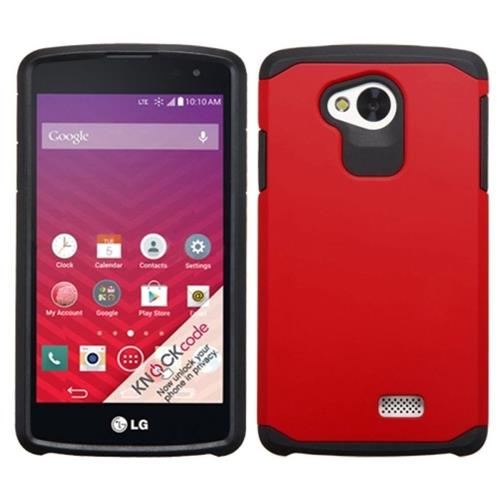 Insten Hard Dual Layer Rubberized Silicone Case For LG Optimus F60, Red/Black