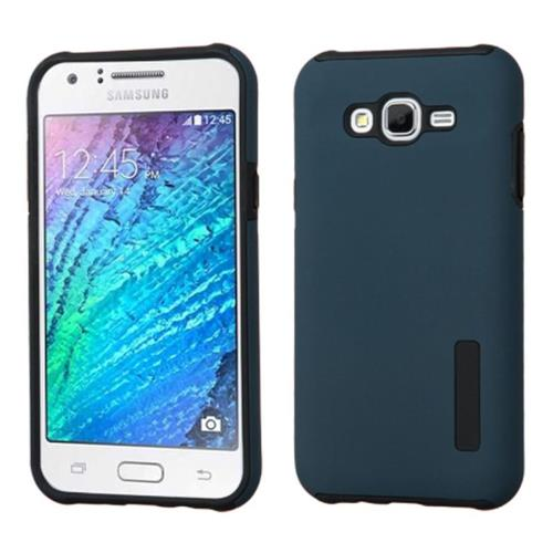 Insten Hard Dual Layer Rubber Silicone Case For Samsung Galaxy J7(2015), Blue/Black