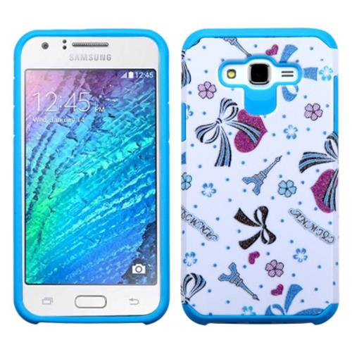 Insten Eiffel Tower Hard Hybrid Silicone Cover Case For Samsung Galaxy J7(2015), Blue/White