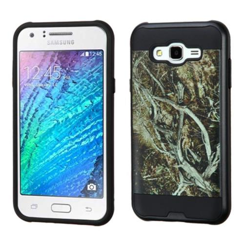 Insten Vines Hard Dual Layer Silicone Case For Samsung Galaxy J7(2015), Yellow/Black