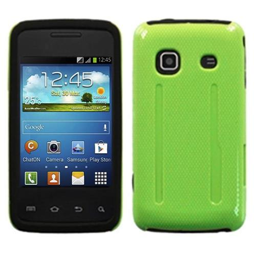 Insten Fusion Hard Hybrid Matte Silicone Cover Case For Samsung Galaxy Prevail, Green/Black