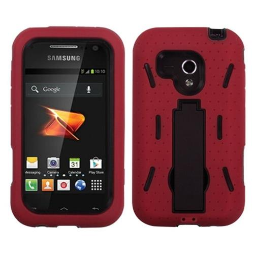 Insten Symbiosis Gel Dual Layer Rubber Hard Cover Case w/stand For Samsung Galaxy Rush, Red/Black