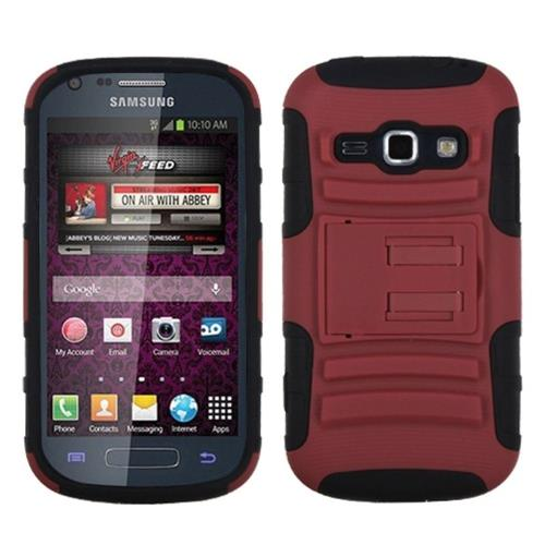 Insten Armor Hard Hybrid Silicone Case w/stand For Samsung Galaxy Prevail 2/Ring, Dark Red/Black
