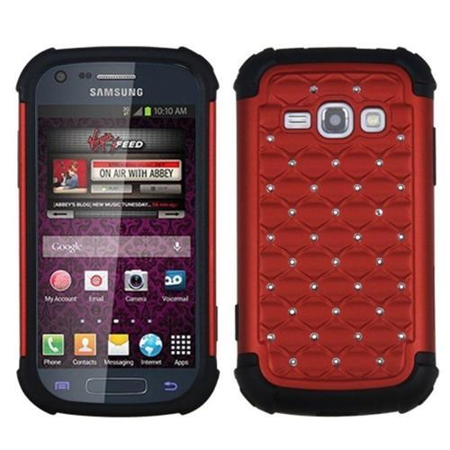 Insten Lattice Hybrid Rubber Silicone Case w/Diamond For Samsung Galaxy Prevail 2/Ring, Red/Black