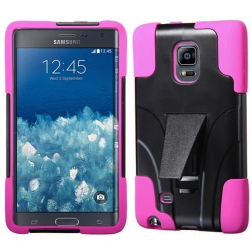 Insten Hard Dual Layer Plastic Silicone Case w/stand For Samsung Galaxy Note Edge, Black/Hot Pink