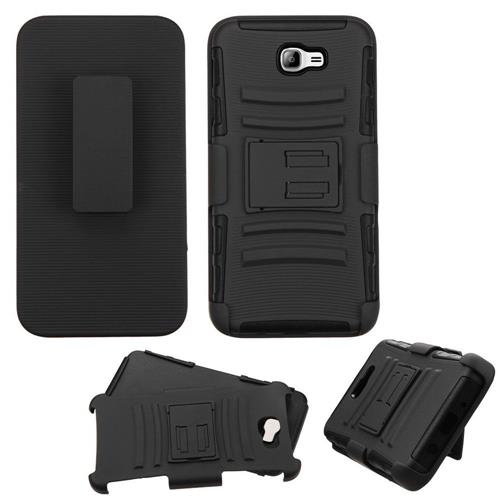 Insten Hard Hybrid Plastic Silicone Case w/Holster For Samsung Galaxy On7(2016), Black