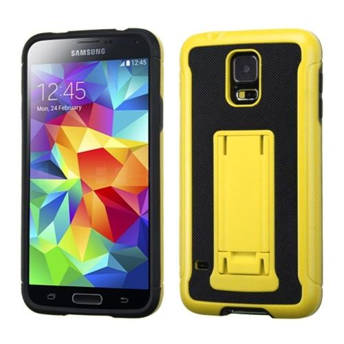 Insten Advanced Armor Hard Hybrid Rubber Silicone Case w/stand For Samsung Galaxy S5, Yellow/Black