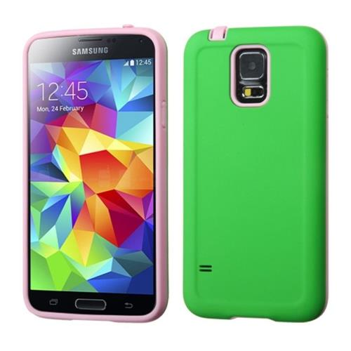 Insten Advanced Armor Hard Dual Layer Silicone Cover Case For Samsung Galaxy S5, Green/Pink