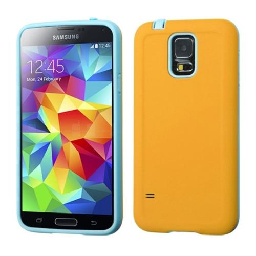 Insten Advanced Armor Hard Hybrid Silicone Cover Case For Samsung Galaxy S5, Orange/Blue