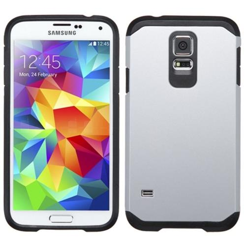 Insten Hard Hybrid Silicone Case For Samsung Galaxy S5, Silver/Black