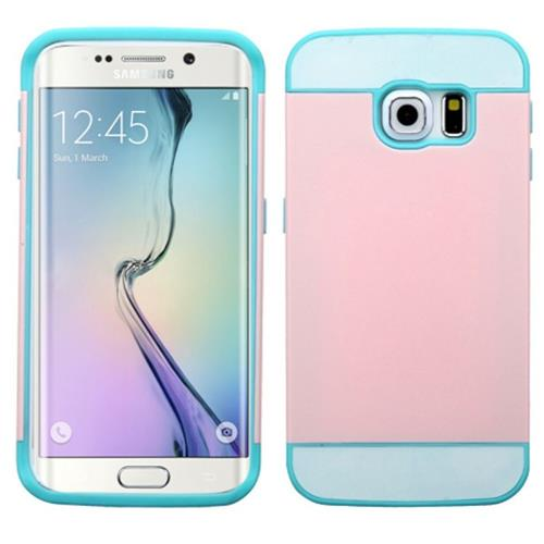 Insten Hard Dual Layer Rubber Coated Silicone Case For Samsung Galaxy S6 Edge, Pink/Blue