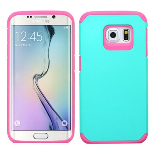 Insten Hard Dual Layer Silicone Case For Samsung Galaxy S6 Edge, Teal/Hot Pink