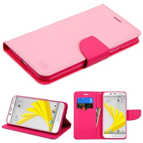 Insten Folio Leather Fabric Cover Case w/stand/card slot For HTC Bolt, Pink