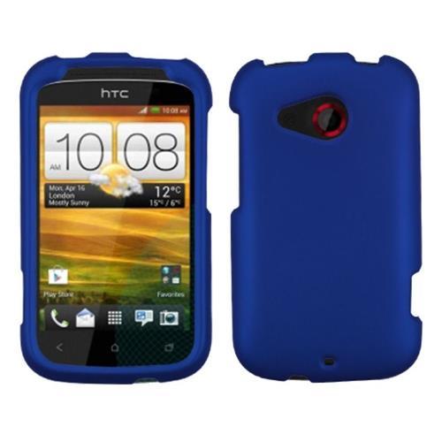 Insten Hard Rubberized Case For HTC Desire C, Dark Blue