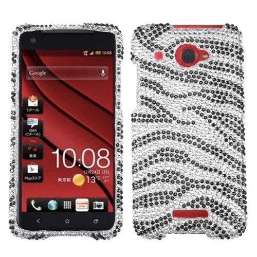 Insten Zebra Hard Rhinestone Cover Case For HTC Droid DNA, Black/Silver