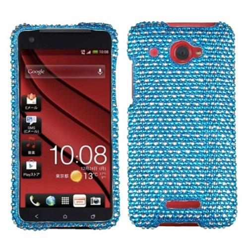 Insten Dots Hard Bling Cover Case For HTC Droid DNA, Blue/White