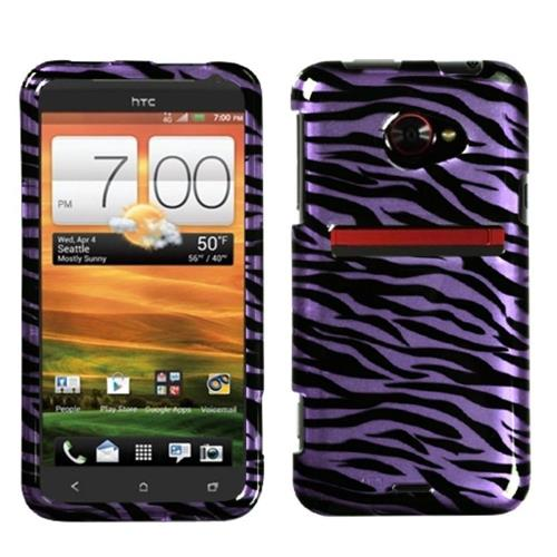 Insten Zebra Hard Case For HTC EVO (LTE version), Purple/Black