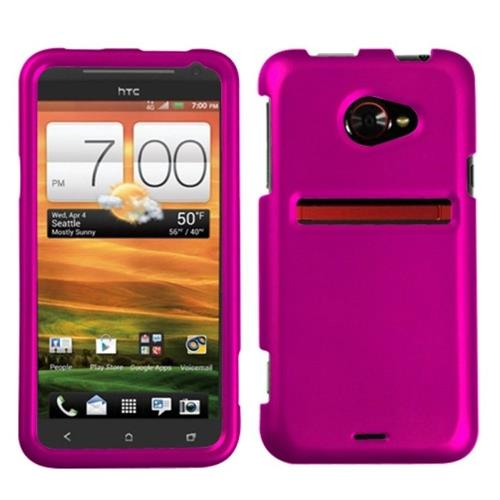 Insten Hard Rubber Coated Case For HTC EVO (LTE version), Hot Pink