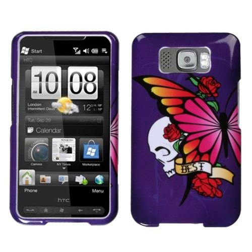 Insten Butterfly/Skull Hard Cover Case For HTC Leo / Firestone / HD2, Purple