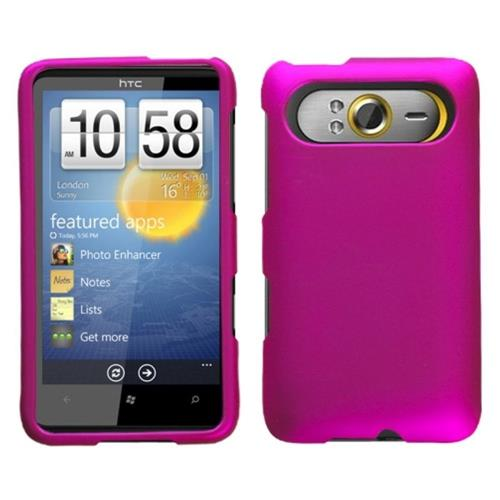Insten Hard Rubber Coated Cover Case For HTC HD7 / HD3/HD7s, Hot Pink