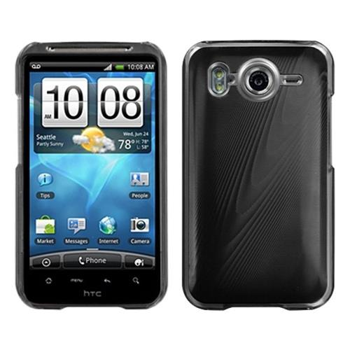 Insten Cosmo Aluminum Metallic Hard Case For HTC Inspire 4G, Black/Clear