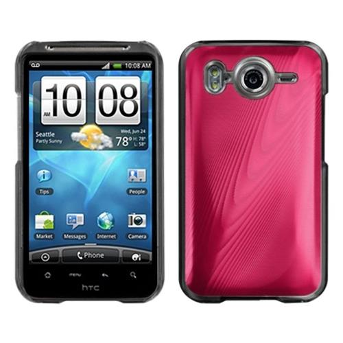 Insten Cosmo Aluminum Metallic Hard Cover Case For HTC Inspire 4G, Red/Clear