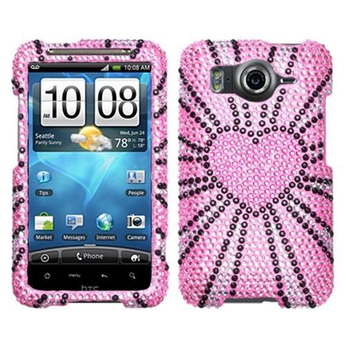Insten Fervor Heart Hard Bling Case For HTC Inspire 4G, Pink/Black
